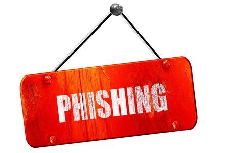 sneak: Phising fraud, 3D rendering, red grunge vintage sign