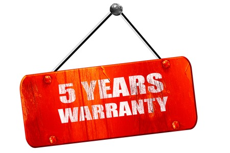 3 5 years: 5 years warranty, 3D rendering, red grunge vintage sign Stock Photo