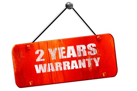 2 years: 2 years warranty, 3D rendering, red grunge vintage sign Stock Photo
