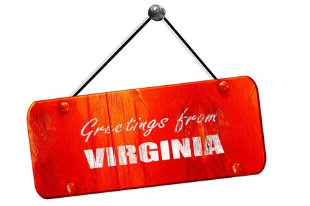 3d virginia: Greetings from virginia with some smooth lines, 3D rendering, red grunge vintage sign