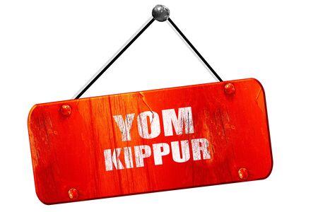 channukah: yom kippur, 3D rendering, red grunge vintage sign