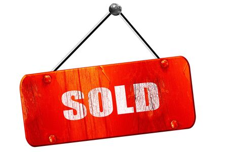 selling service: sold sign background, 3D rendering, red grunge vintage sign Stock Photo