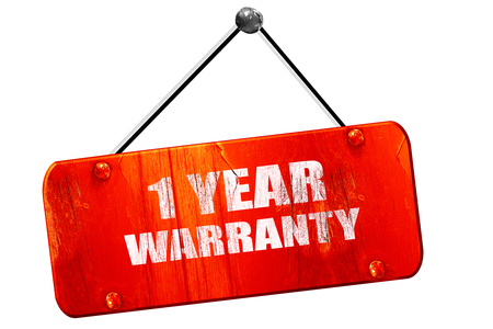 3 5 years: 1 year warranty, 3D rendering, red grunge vintage sign