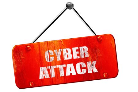 capitalized: Cyber warfare, 3D rendering, red grunge vintage sign
