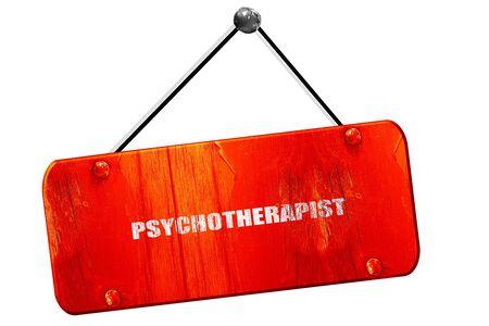 clinical psychology: psychotherapist, 3D rendering, red grunge vintage sign