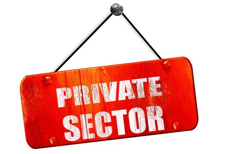 sector: private sector, 3D rendering, red grunge vintage sign Stock Photo