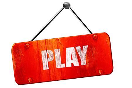 inform information: play, 3D rendering, red grunge vintage sign