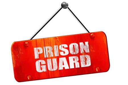 prison guard, 3D rendering, red grunge vintage sign Stock Photo