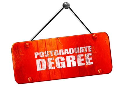 postgraduate degree, 3D rendering, red grunge vintage sign Stock Photo