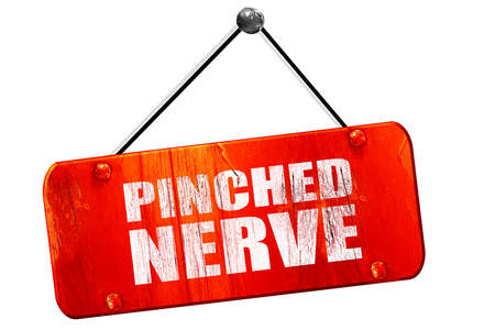 pinched: pinched nerve, 3D rendering, red grunge vintage sign Stock Photo