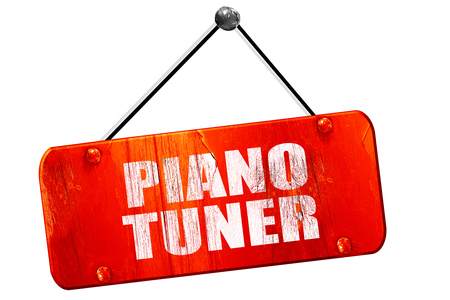 tuner: piano tuner, 3D rendering, red grunge vintage sign