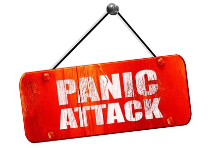 panic attack: panic attack, 3D rendering, red grunge vintage sign