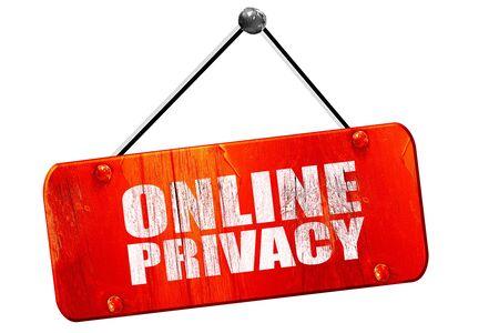 online privacy: online privacy, 3D rendering, red grunge vintage sign