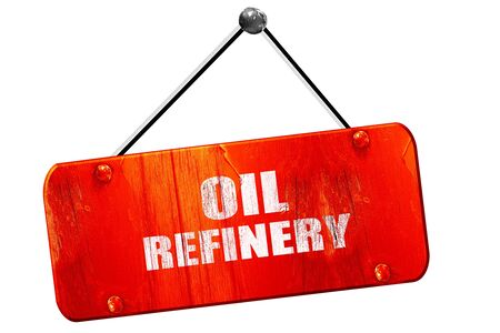 isolation tank: oil refinery, 3D rendering, red grunge vintage sign Stock Photo