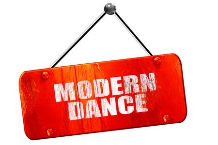3d dance: modern dance, 3D rendering, red grunge vintage sign