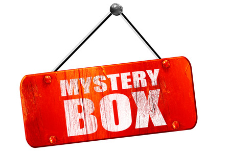 mysteries: mystery box, 3D rendering, red grunge vintage sign