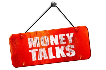 conversaciones: el dinero habla, 3D, muestra de la vendimia del grunge rojo Foto de archivo