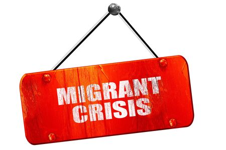 illegal immigrant: migrant crisis, 3D rendering, red grunge vintage sign
