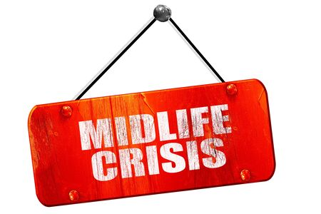 midlife: midlife crisis, 3D rendering, red grunge vintage sign Stock Photo