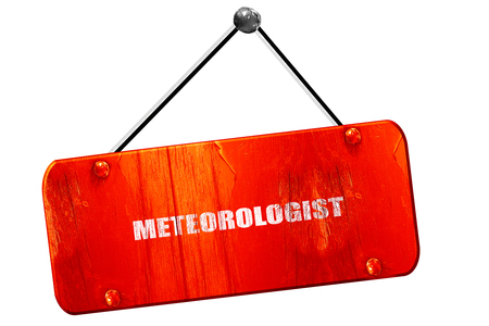 newscast: meteorologist, 3D rendering, red grunge vintage sign Stock Photo