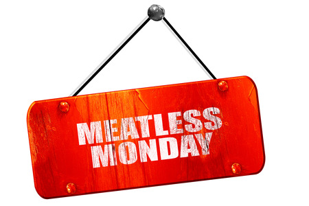 meatless: meatless monday, 3D rendering, red grunge vintage sign Stock Photo