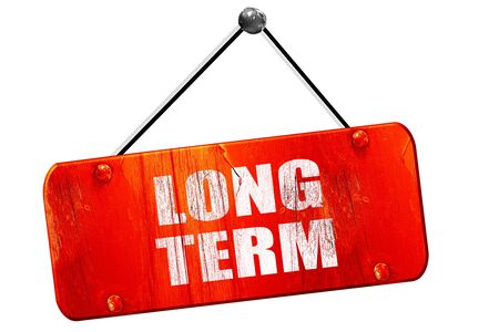 long term: long term, 3D rendering, red grunge vintage sign