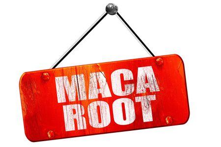 maca root: maca root, 3D rendering, red grunge vintage sign