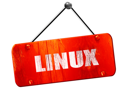 linux, 3D rendering, red grunge vintage sign