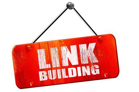 backlink: link building, 3D rendering, red grunge vintage sign