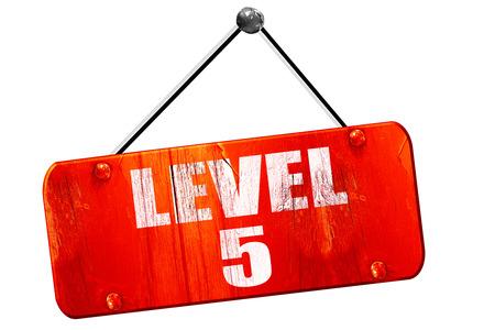 xp: level 5, 3D rendering, red grunge vintage sign