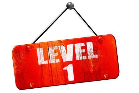 xp: level 1, 3D rendering, red grunge vintage sign
