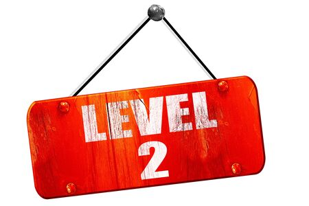 xp: level 2, 3D rendering, red grunge vintage sign Stock Photo