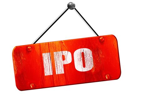 initial public offerings: ipo, 3D rendering, red grunge vintage sign Stock Photo