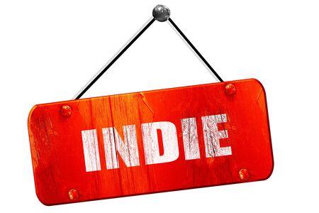 indie: indie, 3D rendering, red grunge vintage sign