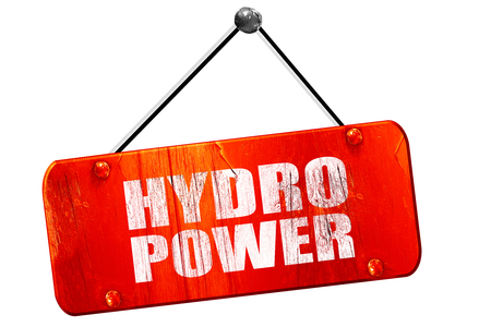 hydro power: hydro power, 3D rendering, red grunge vintage sign