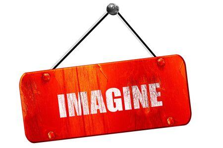 imagine, 3D rendering, red grunge vintage sign
