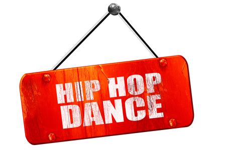 3d dance: hip hop dance, 3D rendering, red grunge vintage sign Stock Photo
