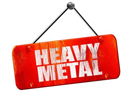 music 3d: heavy metal music, 3D rendering, red grunge vintage sign Stock Photo