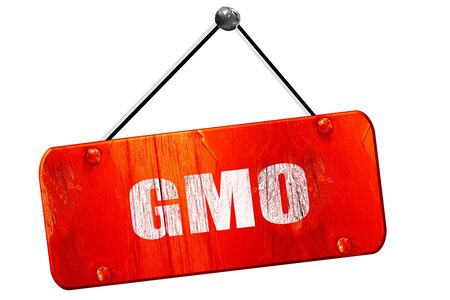 genetically modified crops: gmo, 3D rendering, red grunge vintage sign