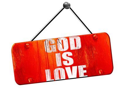 god 3d: god is love, 3D rendering, red grunge vintage sign