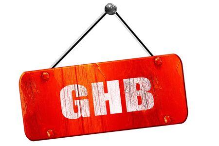anaesthetic: ghb, 3D rendering, red grunge vintage sign