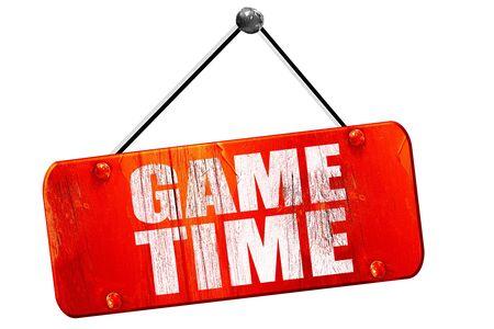 game time, 3D rendering, red grunge vintage sign 版權商用圖片