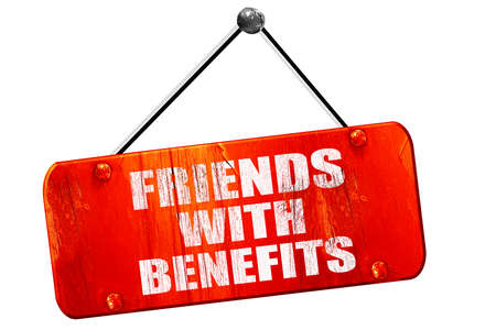 sexual relations: friends with benefits, 3D rendering, red grunge vintage sign