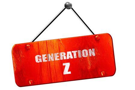 gen: generation z, 3D rendering, red grunge vintage sign