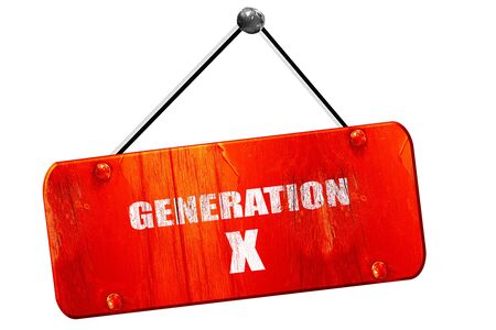generation x: generation x word, 3D rendering, red grunge vintage sign Stock Photo