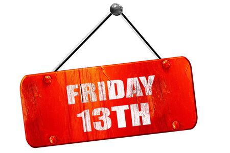 13th: friday 13th, 3D rendering, red grunge vintage sign