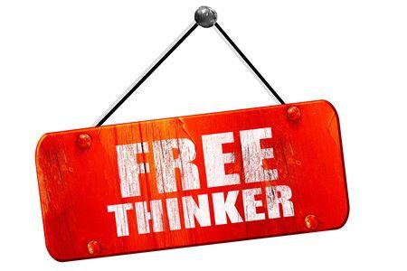pensador: pensador libre, 3D, muestra de la vendimia del grunge rojo