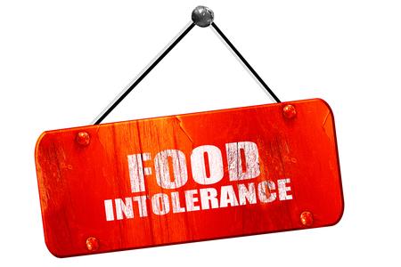 intolerancia: food intolerance, 3D rendering, red grunge vintage sign Foto de archivo