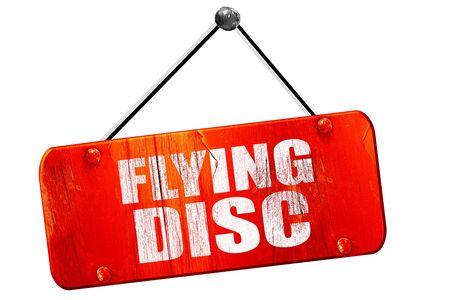flying disc: flying disc, 3D rendering, red grunge vintage sign