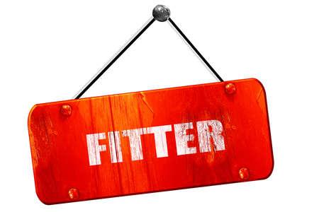 fitter: fitter, 3D rendering, red grunge vintage sign